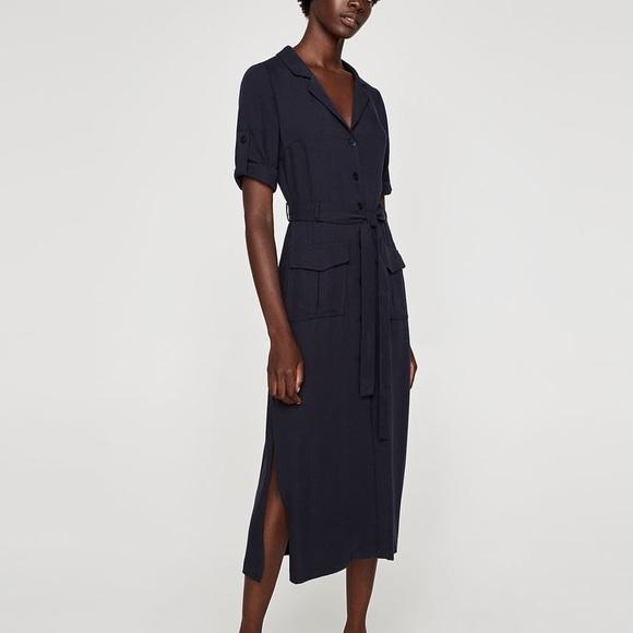 35434942df4 NWT Zara Midi Dress With Pockets in Navy